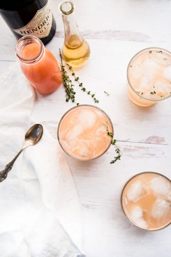 overhead of pink grapefruit gin cocktails