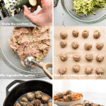 collage of steps for making zucchini turkey meatballs