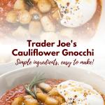 collage of gnocchi on marinara sauce