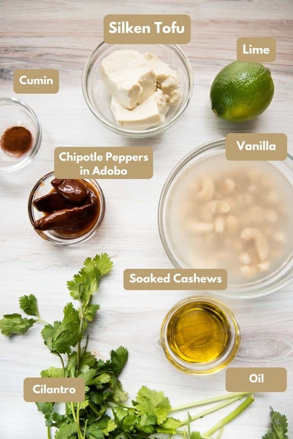 Ingredients for Vegan Chipotle Aioli