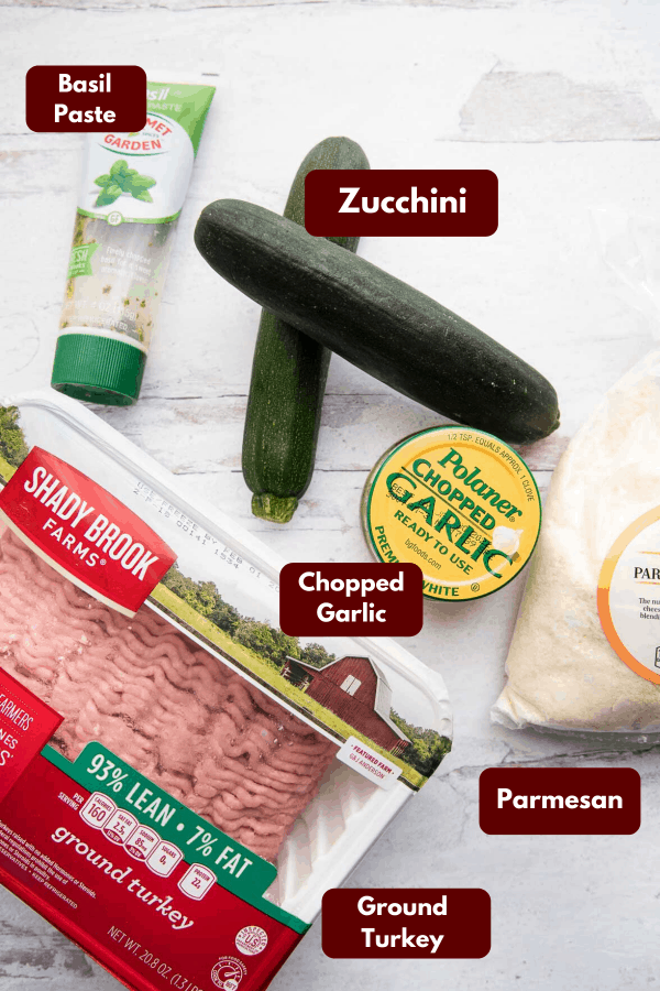 collage of ingredients for zucchini stuffed meatballs
