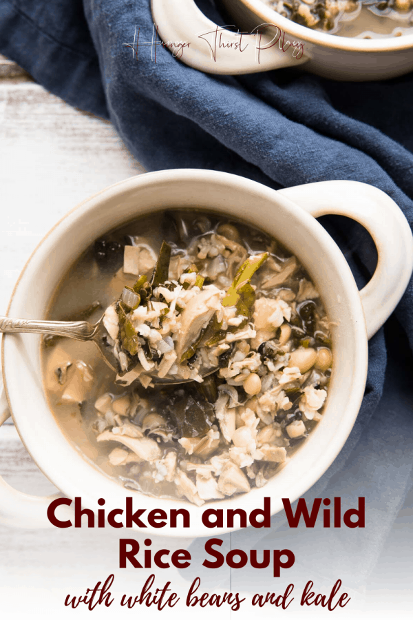 overhead of chicken and wild rice soup
