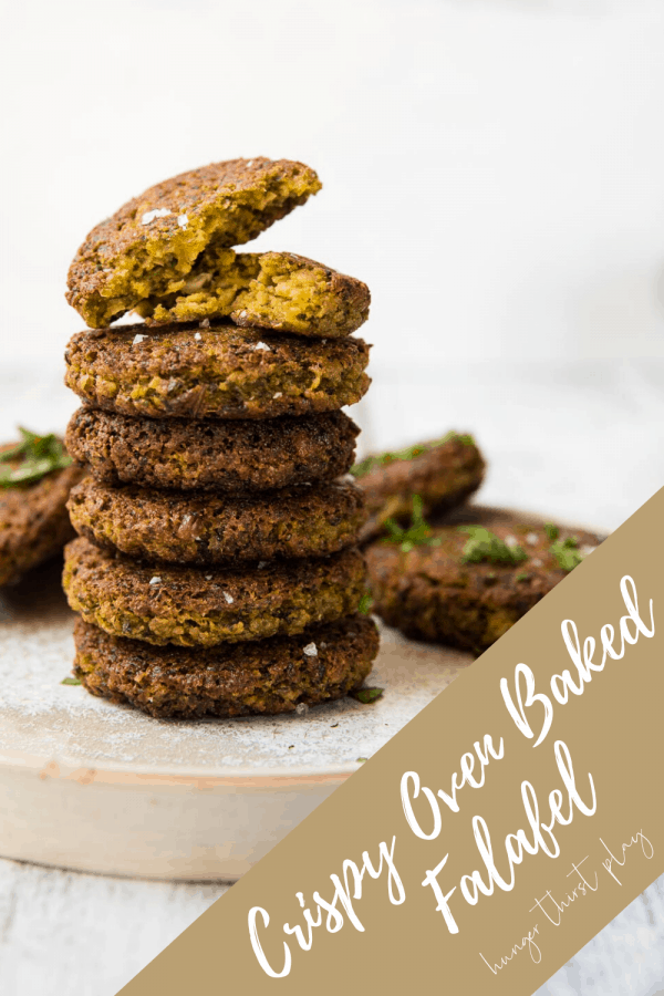 stacked pieces of baked falafel on a plate
