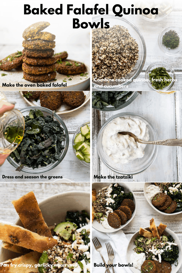 collage of how to make falafel quinoa bowls