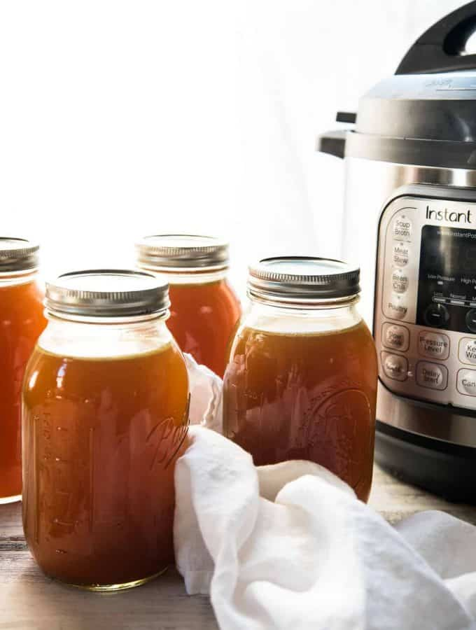 canning jars of stock with instant pot