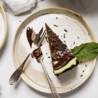 Slice of cheesecake with mint
