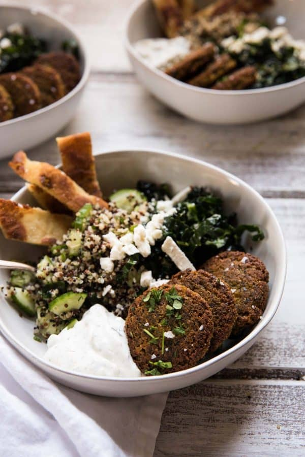 falafel and tzatziki close up in a bowl