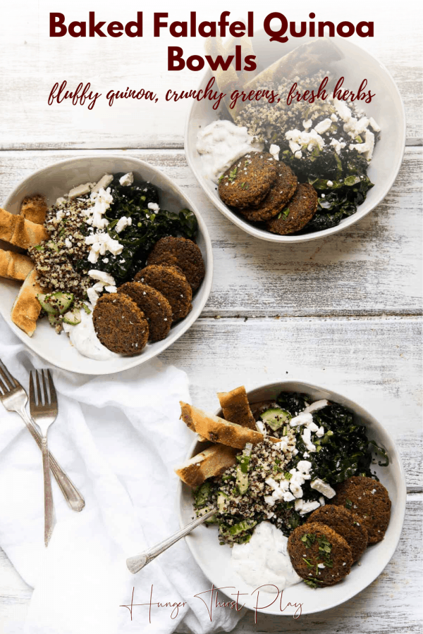 three bowls stuffed with falafel quinoa bowl ingredeints