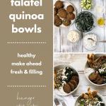 collage of falafel quinoa bowls photos
