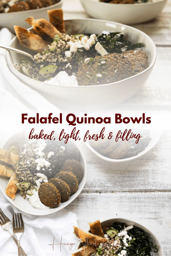 collage of falafel quinoa bowls photos