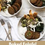 three bowls stuffed with falafel quinoa bowl ingredeints