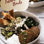 side angle of falafel quinoa bowls stuffed with ingredients