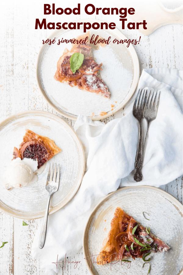 three slices of tart on round plates