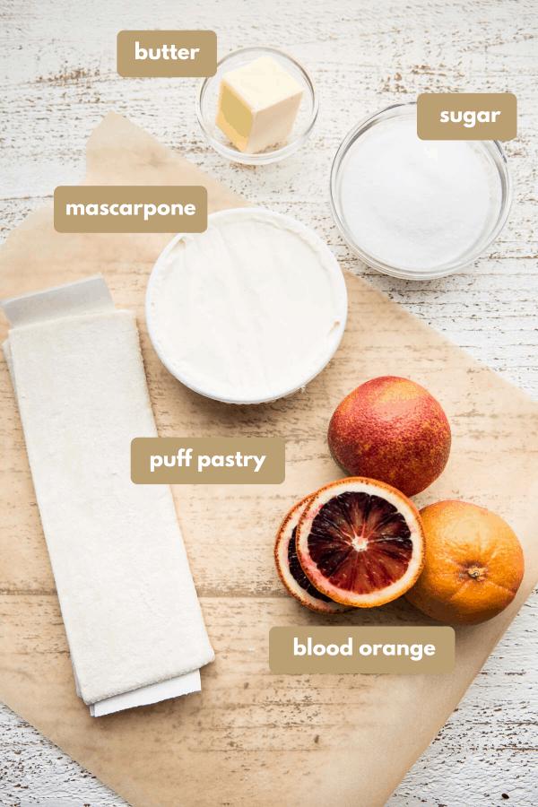 ingredients labeled for blood orange mascarpone tart