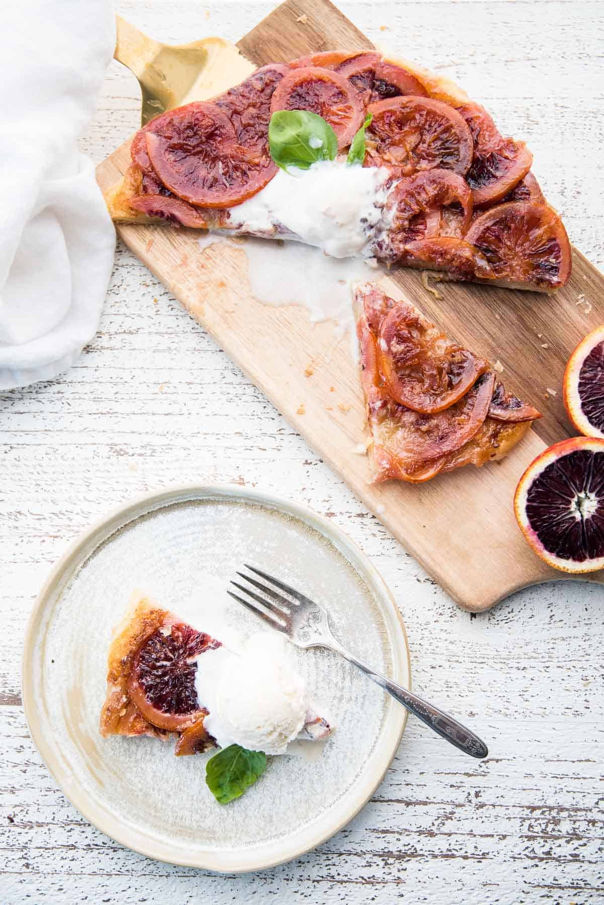 sliced pieces of tart with ice cream