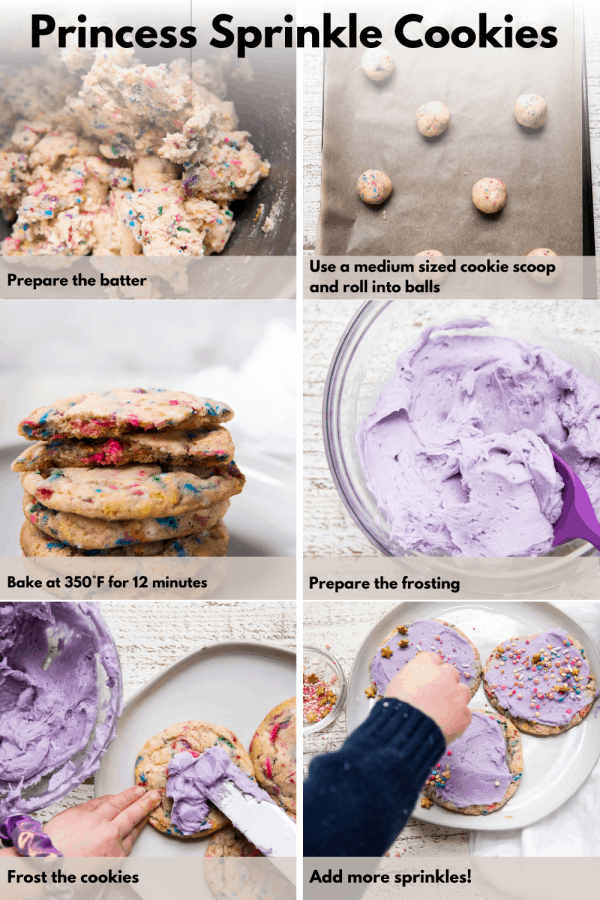 collage of steps to make princess sprinkle cookies