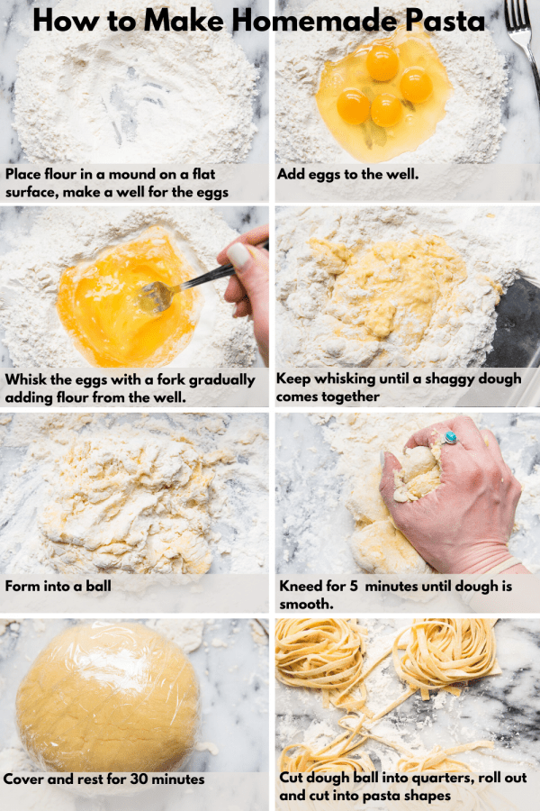 collage of steps to make homemade pasta