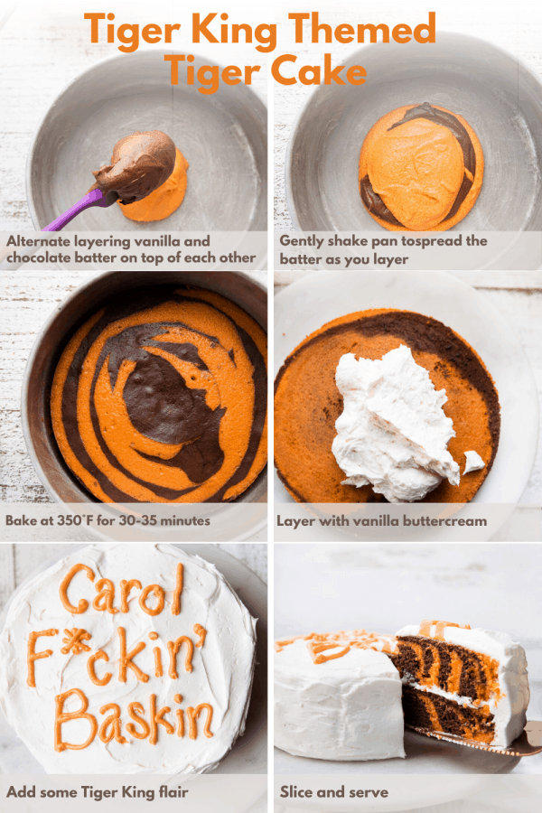 collage of steps to make tiger king cake