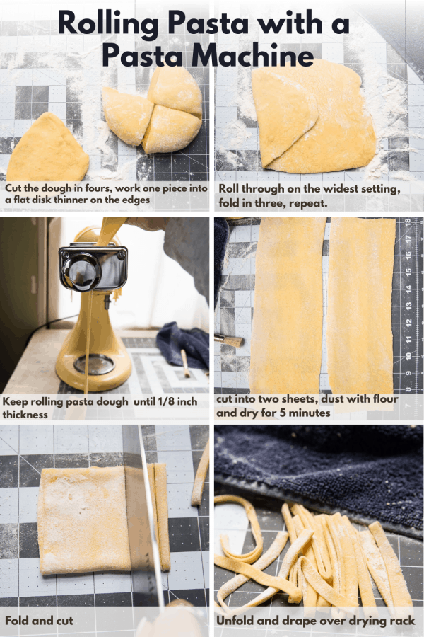 collage of how to roll pasta with a pasta machine