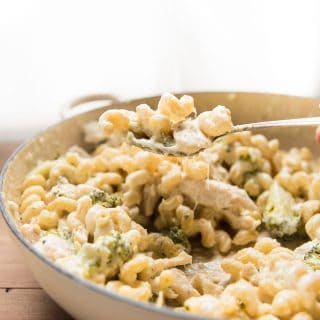 Cheesy scoop of alfredo pasta