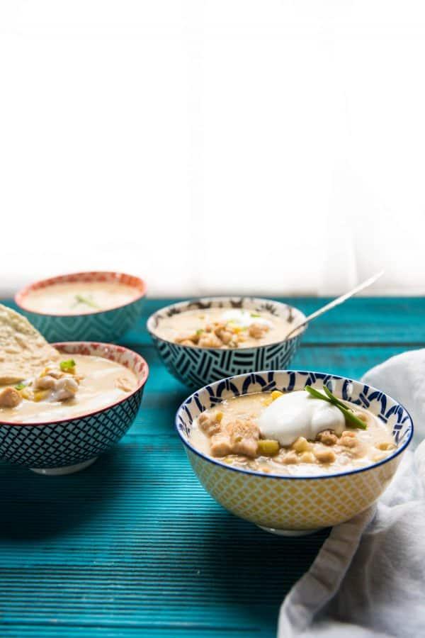 side angle of bowls of chili