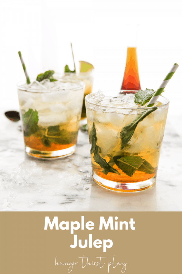 three glasses with ice and mint juleps