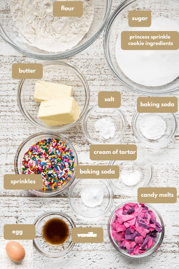 labeled ingredients for princess sprinkle cookies