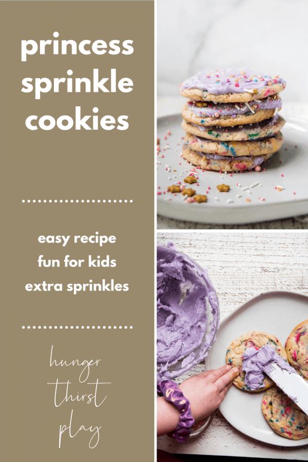 collage of princess sprinkle cookie photos