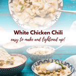 collage of two photos of bowls of chicken chili