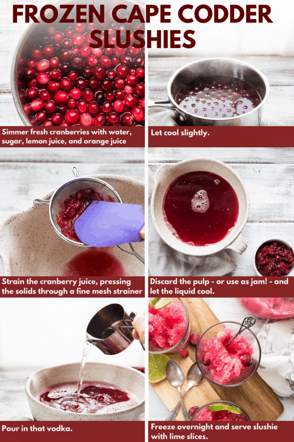 collage of photos showing ingredients of how to make cape codder slushies