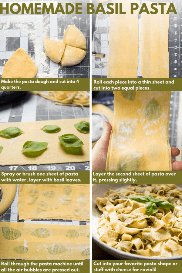 collage of laminating pasta sheets with fresh basil