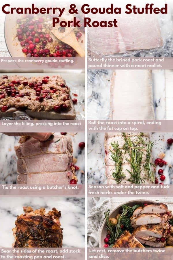 collage of steps to make cranberry gouda stuffed pork roast