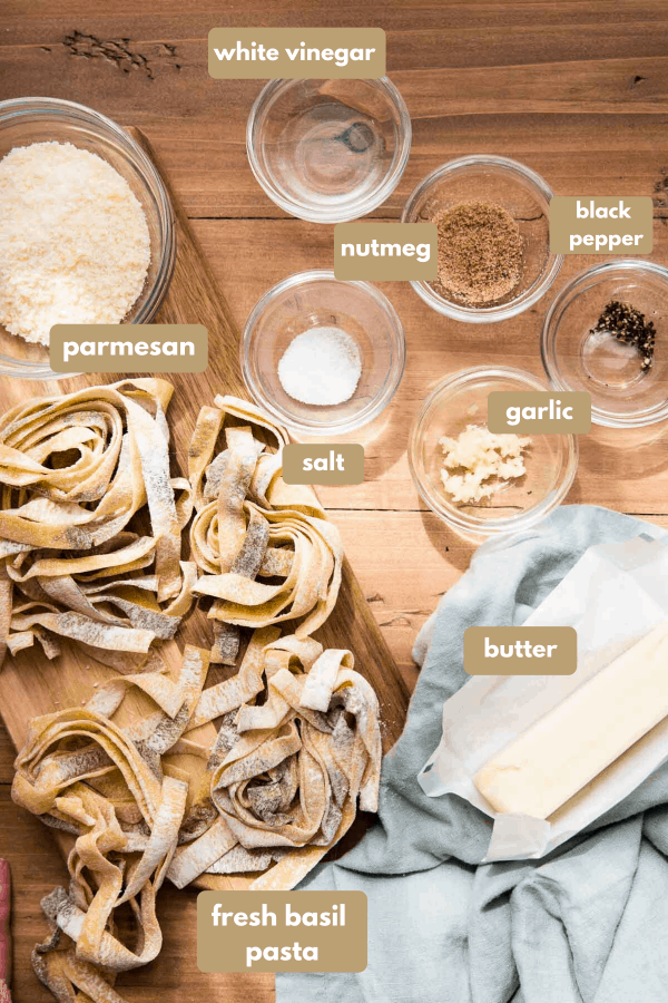 labeled ingredients for garlic brown butter sauce