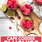 overhead angle of three glasses with cape codder slushies