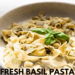 close up of fresh basil pasta in a serving bowl