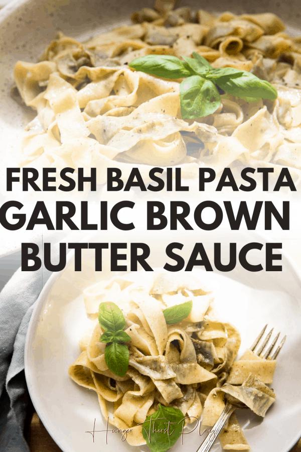 collage of fresh basil pasta photos