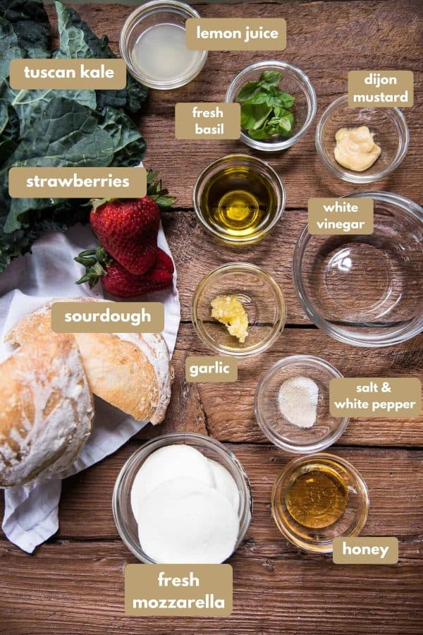 labeled ingredients for sourdough panzanella