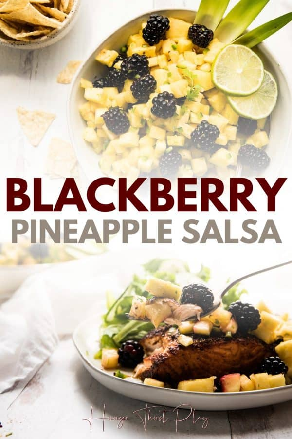 collage of blackberry pineapple salsa photos