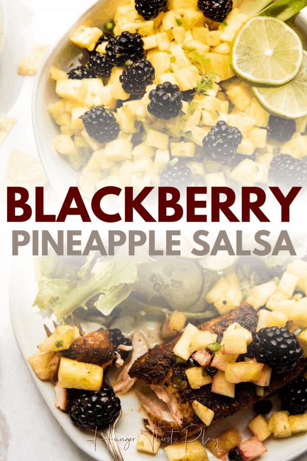 collage of blackberry pineapple salsa photos