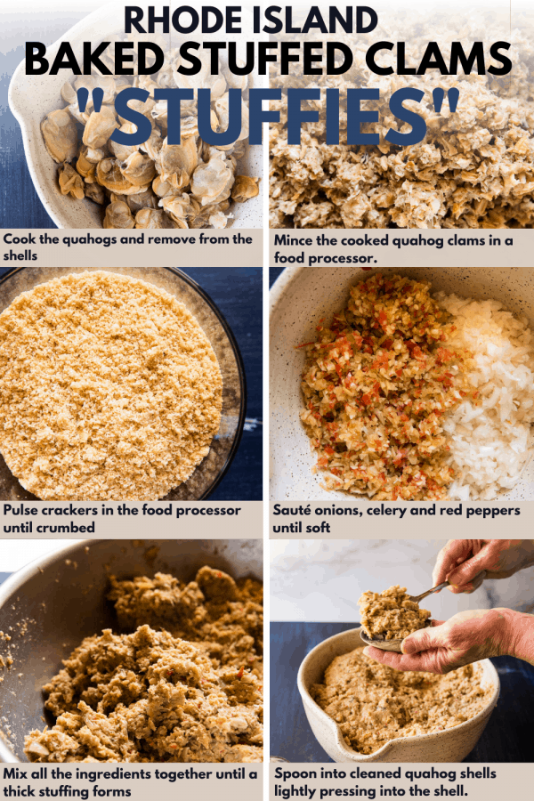 collage of steps to make baked stuffed clams