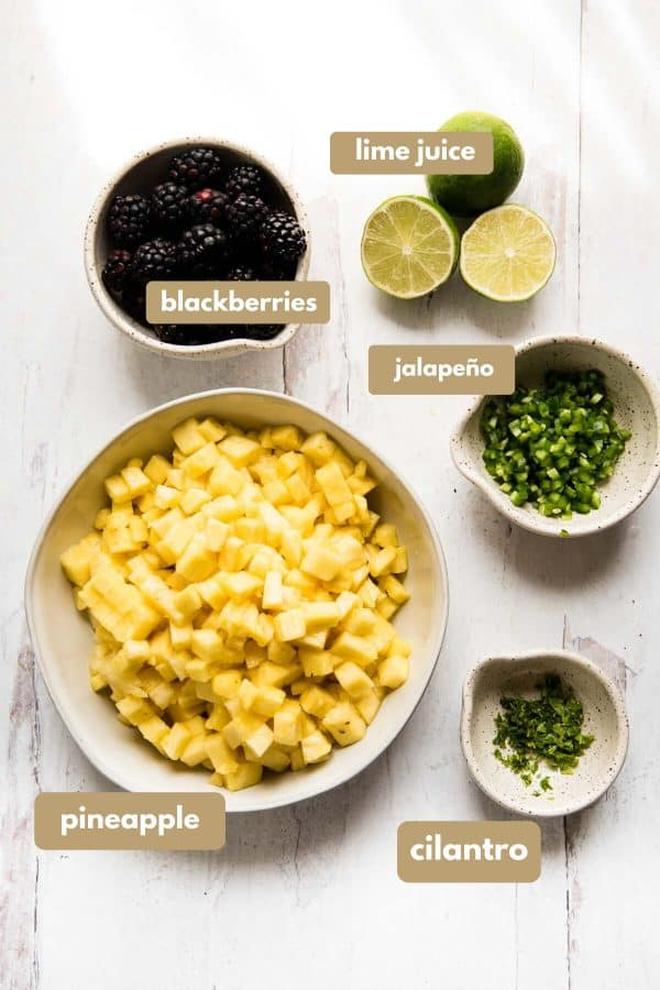 labeled ingredients for blackberry pineapple salsa