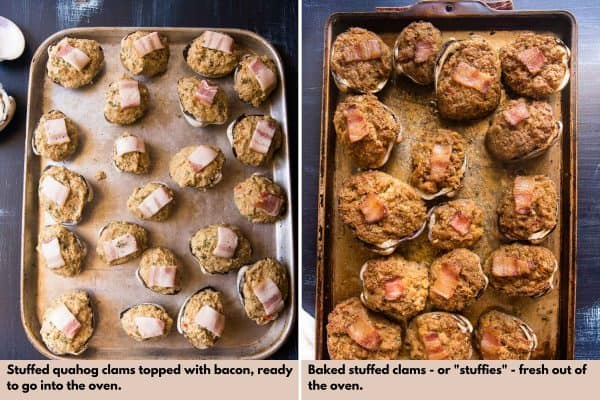 baked stuffed clams before and after cooking