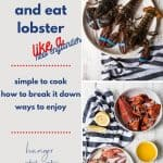collage of whole lobsters before and after cooking