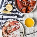 plate of lobster meat, lemon, and butter