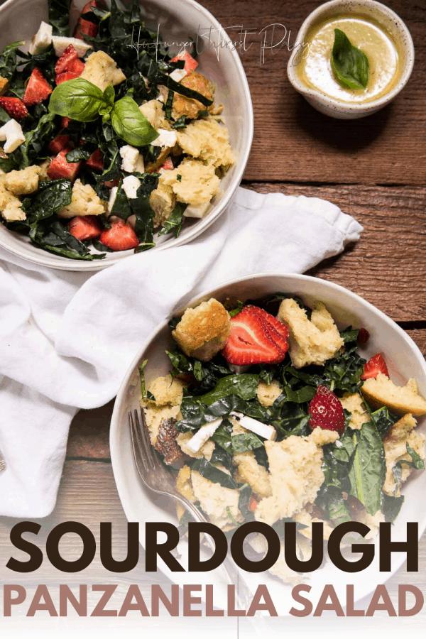 two bowls of panzanella salad