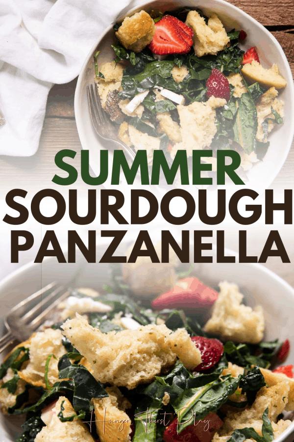 collage of sourdough panzanella salad