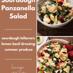 two photos of panzanella salad in a large platter and bowl