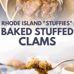 collage of baked stuffed clam photos