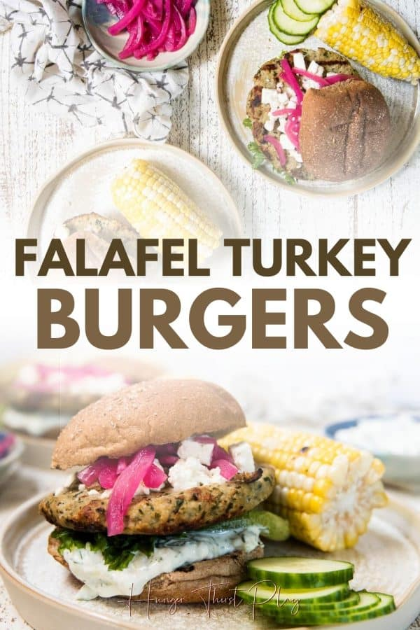 collage of photos of falafel turkey burgers