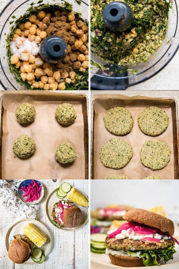 collage of making falafel turkey burgers